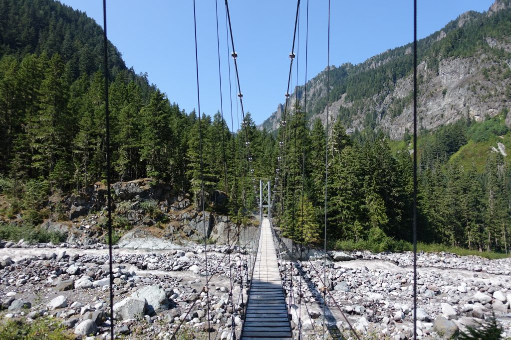 Suspension bridge over Carbon River